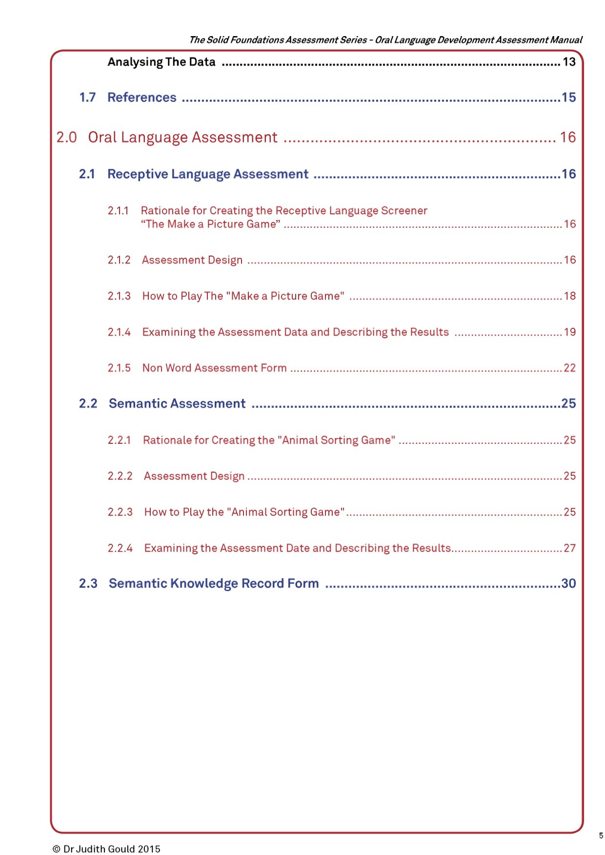 Oral Language Assessment Package
