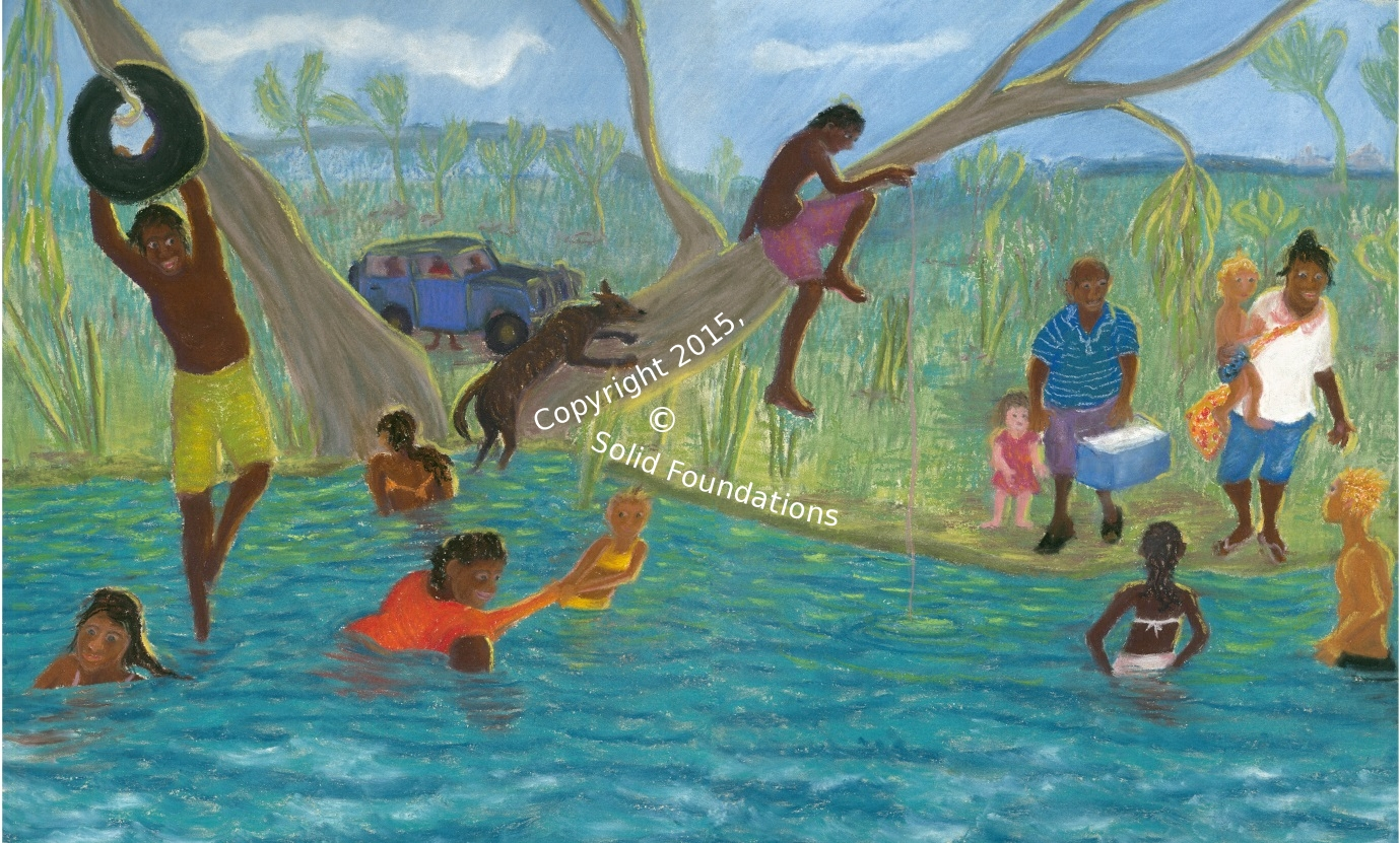 Sample page from the Life By The River Story Book, part of the Emergent Literacy Assessment Package